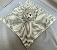 Carters Just One You Gray White Bear Stripes Security Blanket Lovey EXCELLENT