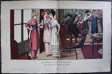 Pierre BRISSAUD Pochoir Art Déco ORIGINAL planche double 1914 GAZETTE BON TON #3