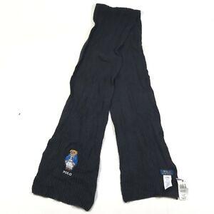 "NEW Polo Ralph Lauren Bear Scarf Scarves Wool Cotton Black Chunky Knit 10""x76"""