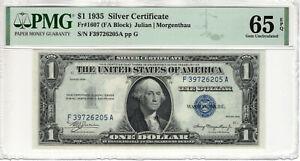 1935 $1 SILVER CERTIFICATE NOTE CURRENCY FA BLOCK FR.1607 PMG CU 65 EPQ (205A)
