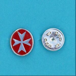 925 Sterling Silver Malta Maltese Cross with Enamel Lapel Pin Men gift