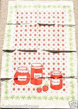 1970s Vintage Tea Towel 100% Cotton Strawberry Jam-Making Jam Jars Red & White