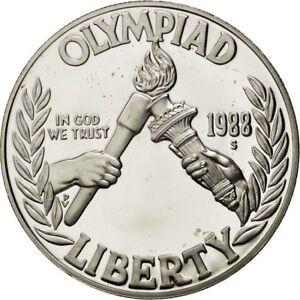 [#42982] UNITED STATES, Dollar, 1988, U.S. Mint, KM #222, MS(65-70), Silver