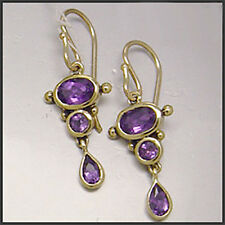 E080- EXQUISITE Genuine 9ct Yellow Gold SOLID Natural Amethyst DROP Earrings
