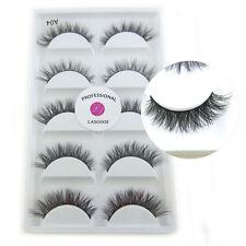 LASGOOS Real Mink 3D False Eyelashes Natural Winged Daily Fake Eyelash 5 Pairs