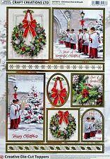 A4 Die Cut 3d Foiled Card Topper Sheet Paper TOLE Christmas Choir Wreath CDT587G