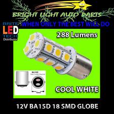 12V BA15D 18SMD 288LM COOL WHITE LED GLOBE FOR CARAVAN RV BOAT LIGHTING 1PC