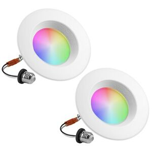 """Geeni 6"""" Smart Wi-Fi LED Dimmable Multicolor Downlight 2700k-6500k (2 Pack)"""