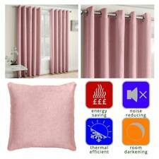Blush Eyelet Curtains Pink Thermal Block-Out Ready Made Ring Top Curtain Pairs