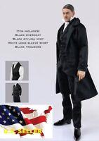 1/6 british detective men long coat Sherlock agent suit for hot toys ❶US seller❶