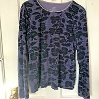 J Jill Top Womens Size L Purple Long Sleeve Satin Trimmed Large Cotton Cozy