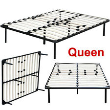Queen Size Wood Slats Metal Bed Frame Platform Bedroom Mattress Foundation Base