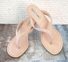 MANOLO BLAHNIK 38 Sandals Mauve Pink Silk Kitten Heel Thongs US 7.5