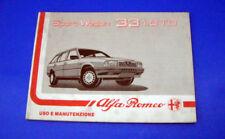Alfa Romeo 33 Sport Wagon 1.8 TD Libretto Uso e Manutenzione 1988