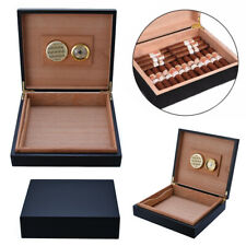 Cedar Wood Lined Cigar Storage Case Box with Humidor Humidifier Hygrometer Black