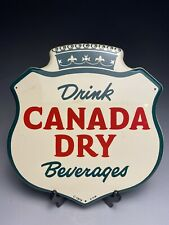 Vintage Drink Canada Dry Enameled Tin Shield Advertising Sign