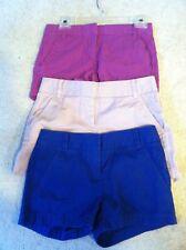 3 J. Crew women's size 00 Chino casual shorts blue pink purple blue lavender lot