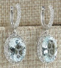 Fashion Women 925 Silver Aquamarine Gemstone Bridal Ear Stud Hoop Dangle Earring