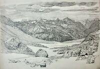 Hochgebirgs-Alm mit Blick auf ein Gipfelpanorama, Bleistiftzeichnung, um 1900