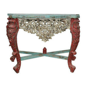 Wooden Carved Console Table Handmade Solid Wood