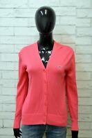 Lacoste Donna Taglia 4 L Maglione Cardigan Pullover Sweater Woman Cotone Rosa