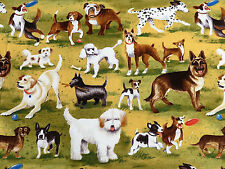 Dog Park Dogs & Puppies at Play Toile Cotton Clothworks Fabric #2960 By the Yard