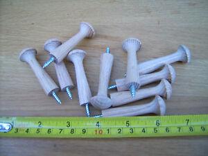 10x Hardwood OAK shaker pegs, MEDIUM, coat pegs, mug pegs.Screw fixing