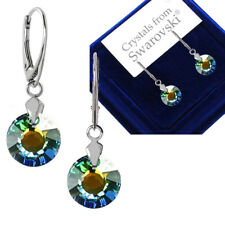 925 Sterling Silver Leverback Earrings SUN Sahara Crystals from Swarovski®