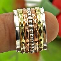Solid 925 Sterling Silver Spinner Ring Meditation Ring Statement Ring Size M11