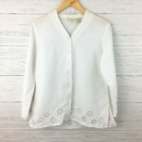 J. Jill Women's White Linen Tunic Top Embroidered White Blouse Button Front XSP