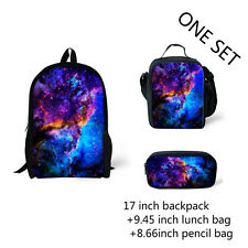 Galaxy Backpack+ Lunch box +Pencil Pen Bag Case School One set Bags 3pcs Student
