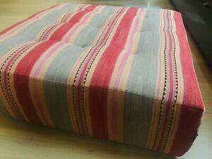 Pink and Grey Printed Roche Bobois Ottoman (3' x 3')