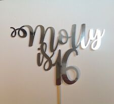 Personalised Mirrored Birthday Cake Topper 16th 18th 21st 30th Any Age/Colour
