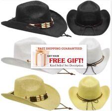 Cowboy HAT WESTERN WHITE BLACK BEIGE Cowgirl Bucket MEN WOMEN CHRISTMAS GIFT