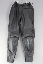IXS BLACK LEATHER BIKER TROUSERS + CE ARMOUR: WAIST 28 INCH/INSIDE LEG 30 INCH
