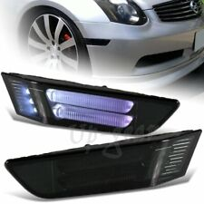 For 2003-2007 Infiniti G35 2DR LED Strip Front Bumper Side Marker Lights Smoke
