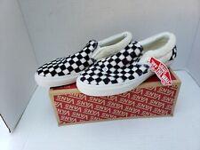 VANS Check Checkboard Faux Fur Black White Skate Shoes Slip On Mens 10.5 12 44