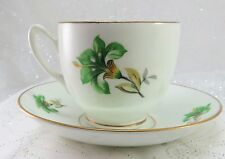 Vintage Dutchess Bone China Tea Cup & Saucer w/ 12K Baked Gold Trim