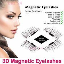 2x paia magnetico Ciglia False 3D Riutilizzabile Occhio Naturale Estensione non Finte Colla