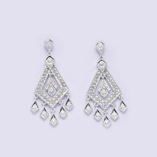 Diamond 10k Solid White Gold Dangle Earrings