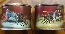 Two antique russian  84 silver lacquered enamel napkin rings
