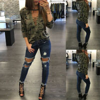 Fashion Women Long Sleeve Shirt Slim Casual Blouse Camouflage Print Tops T Shirt