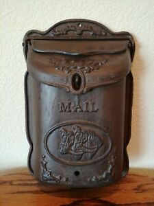 Antique Style Locking Wall Mount Cast Iron MailboxHorse Pattern Rustic Decor