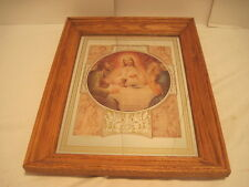 VINTAGE RELIGIOUS WALL MIRROR JESUS MARY JOSEPH PICTURE ON  WOOD FRAME SOLID