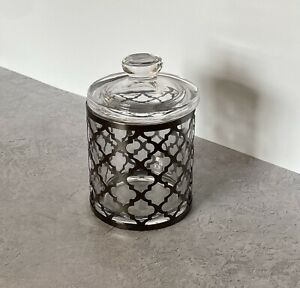 Black Nickel and Glass Storage Jar