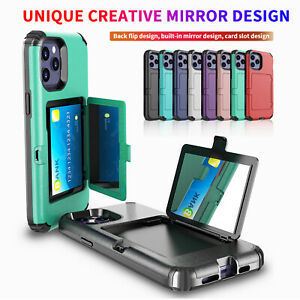Case For iPhone 12 11 Pro Max 12 Mini Card Holder Hybrid Case Mirror Stand Cover