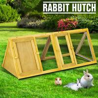 Triangle 1-Tier Wooden Rabbit Hutch Guinea Pig Ferret Small Pet Hutch Run Cage