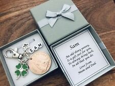 LUCKY PENNY, good luck keyring, EXAMS, new job, CLOVER, PERSONALISED gift, box