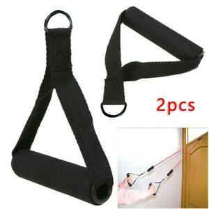 Tricep rope Cable Band 2x Handle Bar Exercise Training Black New Hot sale