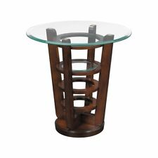 NEW MODERN WOOD TAMPERED BEVEL GLASS TOP CHIC Side End Accent Table